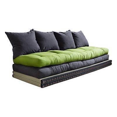canap lit chico 4 coussins gris fonc vert lime 200 x 80 cm karup pour s 39 asseoir. Black Bedroom Furniture Sets. Home Design Ideas