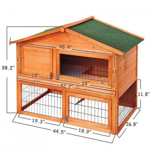 "Pawhut 48"" Backyard Wooden Rabbit Hutch"