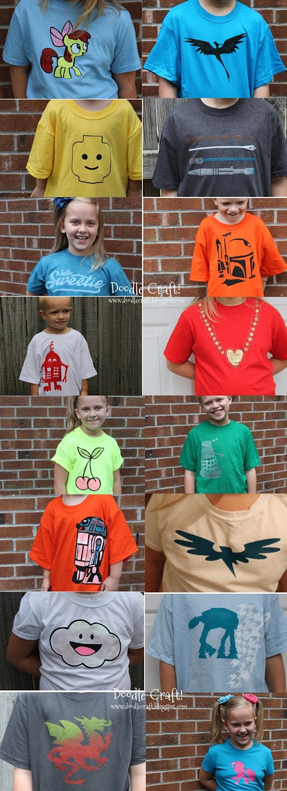 Freezer paper stenciled shirts.