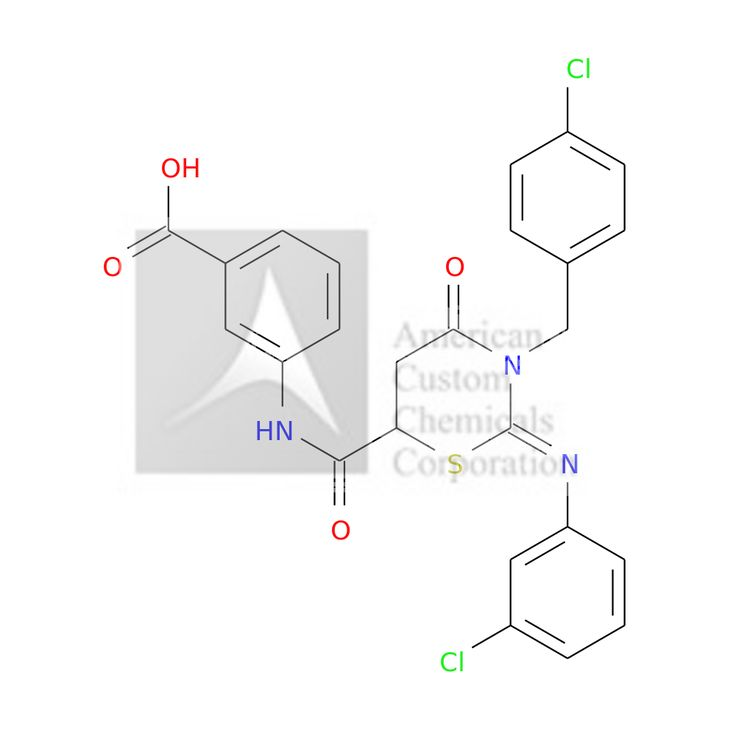 3-[[(2Z)-2-(3-CHLOROPHENYL)IMINO-3-[(4-CHLOROPHENYL)METHYL]-4-OXO-1,3-THIAZINANE-6-CARBONYL]AMINO]BENZOIC ACID is now  available at ACC Corporation