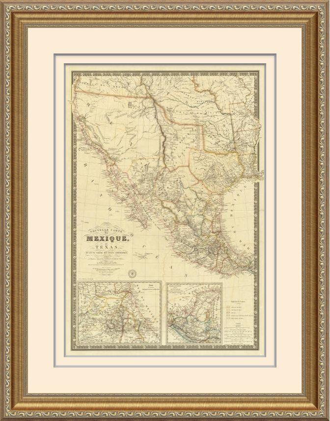Adrien Hubert Brue Nouvelle Carte du Mexique, Du Texas, 1840