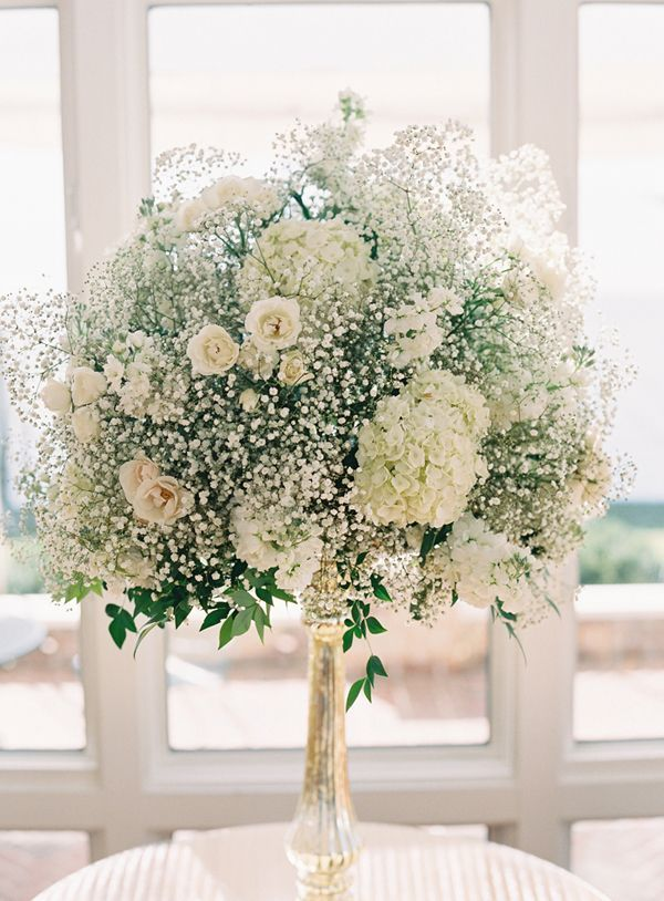babys breath and spray rose centerpiece. shabby chic vintage wedding Velthuizen's Vault: Wedding flowers - babys breath roses and orchids, oh my!