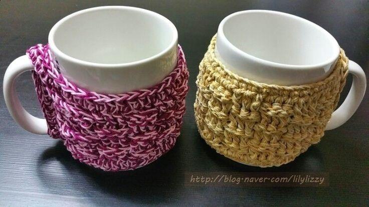 코바늘 도안 / 머그컵에도 옷 입혀줘요~♥ 컵워머? 컵홀더? 컵코지? [바스켓 위브 스티치(basket weave stitch) 동영상 보면서 도전~!] crochet