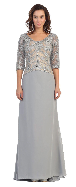 Long Formal Mother of the Bride Lace Applique Plus Size Evening Dress