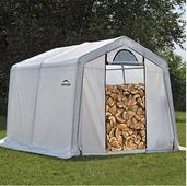 Firewood seasoning shed and storage for firewood.