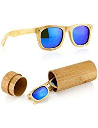 Polarized Wood Wooden Mens Womens Vintage Sunglasses Eyewear with Bamboo box