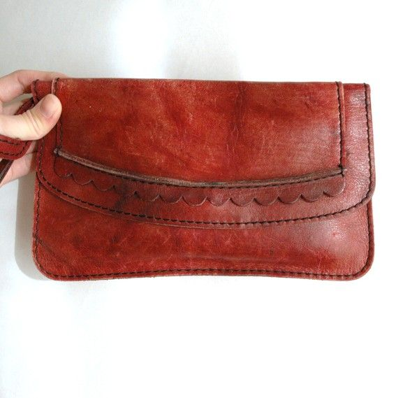 Vtg 70's Leather Gingerbread Girl Clutch by EnfantTerribleVTG - - says sold out but will be keeping open for it come back around.  Really want this one.