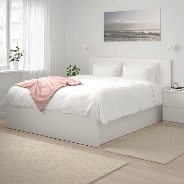 Malm Cadre Lit Coffre Blanc 160x200 Cm Ikea White Bed Frame Malm Bed Frame Bed Frame With Storage