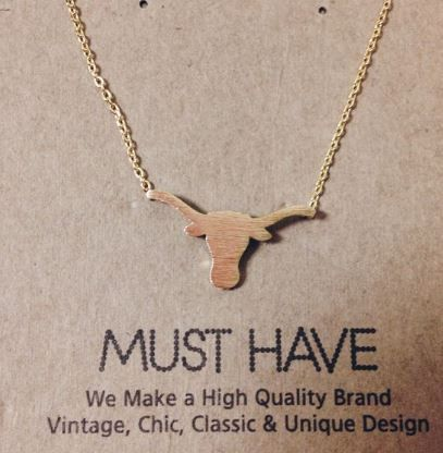 """Length: Approx. 16"""" Made in Korea Show your school pride with this simple longhorn pendant on a chain."""