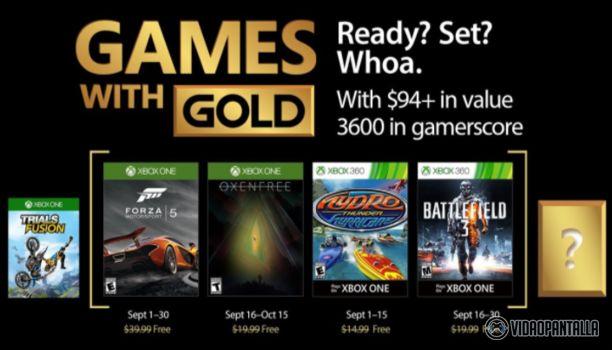 Gold de septiembre  Microsoft ha anunciado los juegos que estarán disponibles para los usuarios con la suscripción a Xbox Live Gold durante el mes de septiembre.  Para Xbox One podremos encontrar Forza 5 que estará disponible durante todo el mes y Oxenfree juego de terror indie que se podrá encontrar del 16 de septiembre al 15 de octubre.  Y para Xbox 360 estarán disponibles Battlefield 3 que estará disponible del 16 al 30 de septiembre y Hydro Thunder Hurricane que estará disponible del 1…