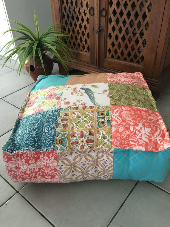 Large Square Prairie Chic Floor Cushion Cover, Patchwork, Handmade, Giant Floor Pillow, Bean Bag, Boho Style, Bohemian, Gypsy, Hippy Chic,