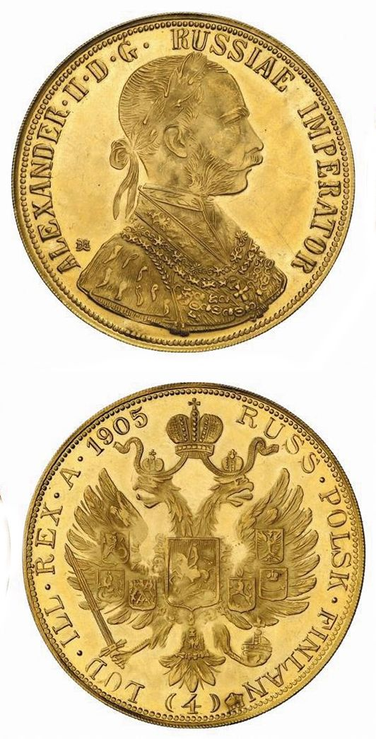 N♡T.Nicholas II, 1894-1917. GOLD Coinage with the name of Alexander II. 4 Ducats 1905. Gold. 12.76 gm. Bit 8 (R1), Basok – unlisted. Bust of Emperor Franz Joseph I of Austria right; legend around with the title of Russian Emperor Alexander II / Russian double-headed eagle.1,500.00USD