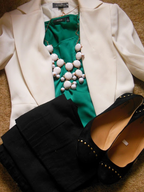 Business Casual: White Blazer, dark jeans, emerald blouse, black studded ballet flats, and white statement necklace.