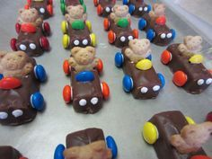 Craft: 3 musketeer candy bars, M&Ms or Skittles, royal icing or melted chips Treats By Christi: Teddy Bear Cars