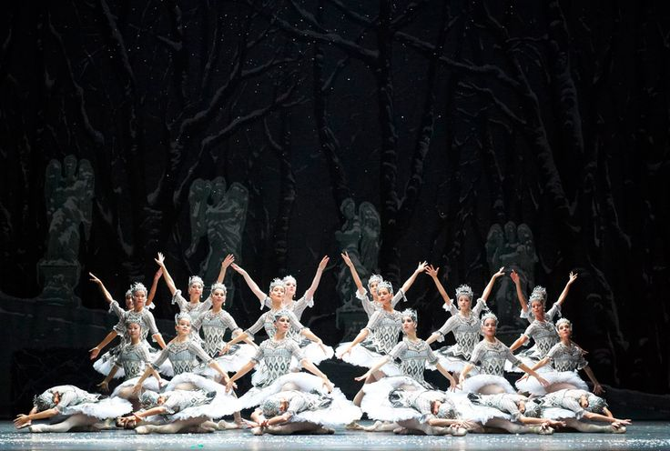 Artists of Wiener Staatsoper Ballet as Snowflakes in Nureyev's Nutcracker. Photo by Michael Pöhn