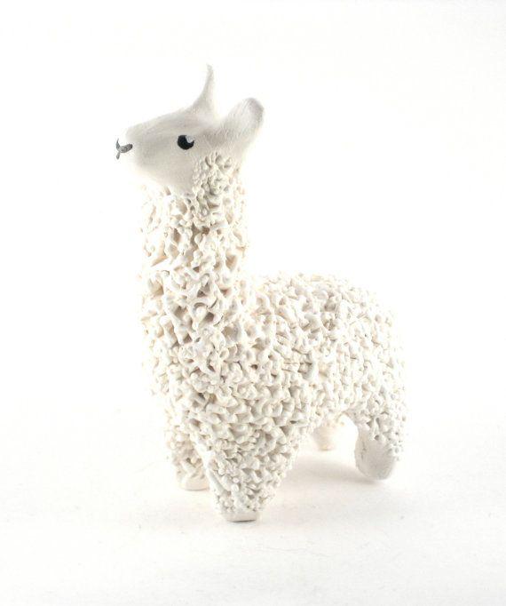 Cute Clay Llama Miniature - Handmade Ceramic Sculpture. $40.00, via Etsy.