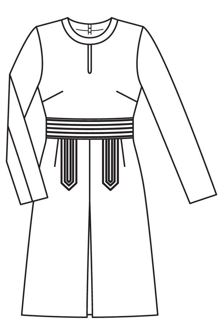 Платье с каплевидным вырезом горловины - выкройка № 108 из журнала 10/2016 Burda – выкройки платьев на Burdastyle.ru