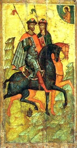 Борис и Глеб на конях. 14 век.