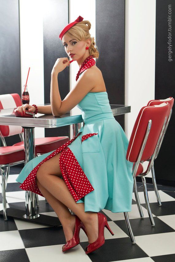Edith Overal & Skirt: vintage style / pin-up / rockabilly light blue and red polka dots playsuit and skirt by TiCCi Rockabilly Clothing
