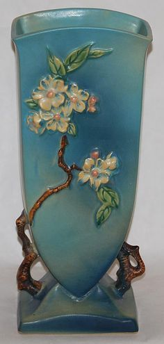 Roseville Pottery Apple Blossom Blue Vase 390-12 from Just Art Pottery