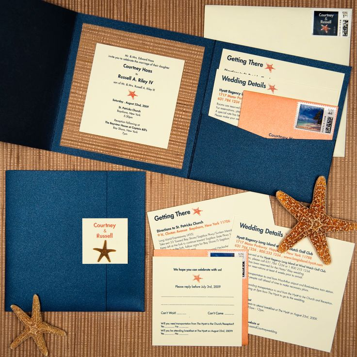 how many stamps do i need for my wedding invitations%0A navy metallic pocket wedding invitation  real starfish on seal  bamboo  paper  ivory matte