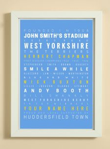 Huddersfield Town Football Club Word Art Design Print - Words, Names And Facts Associated With Huddersfield Town FC - In White Or Black A4 Box Frame