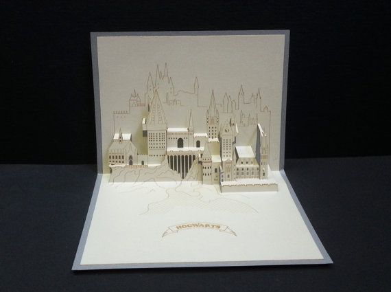 3D Pop Up Greeting Card, HARRY POTTER, HOGWARTS School of Witchcraft  , Architectural Origami, Laser Cut