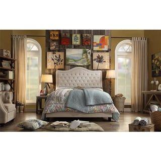 Adella Linen Tufted Upholstered King Size Bed Frame (Beige   Textured/Beige  Finish)