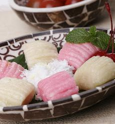 Getuk Lindri, another Indonesian snacks. Made from cassava. Sprinkled with coconut.