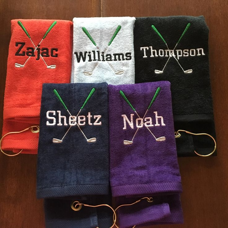 Custom personalized golf towels. Lots of color choices. Fast turn around.