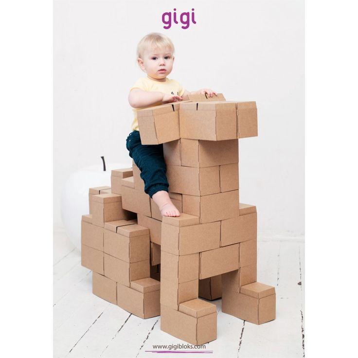 Gigi Bloks - Giant-jättestora byggblock som enkelt viks ihop. Omålad kartong som barnet kan dekorera själv!