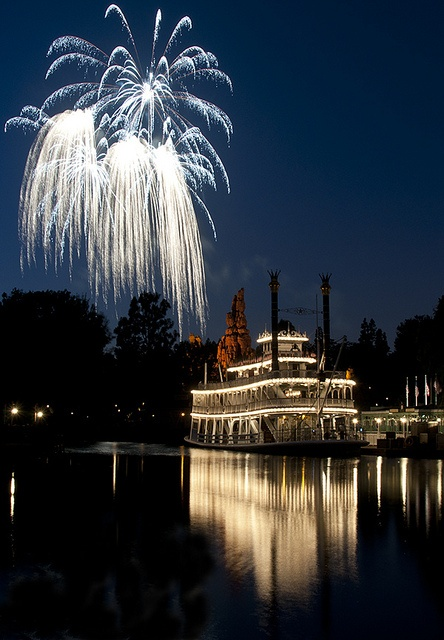 The romance of the Mark Twain riverboat at fireworks time.