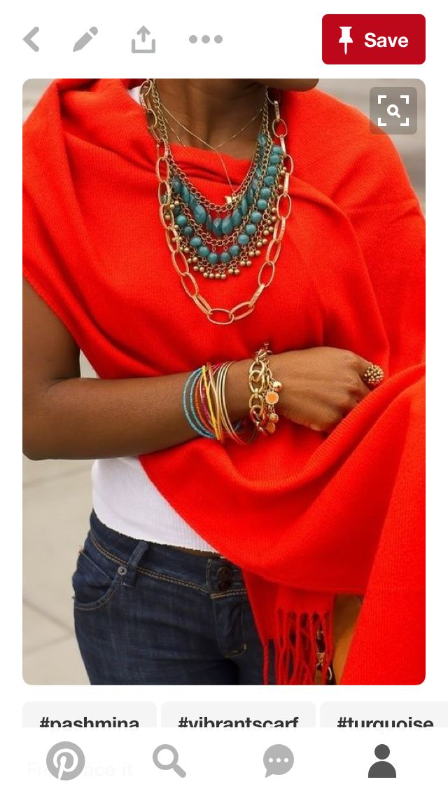 I have this red coral scarf and necklace , perfect for chilly summer nights