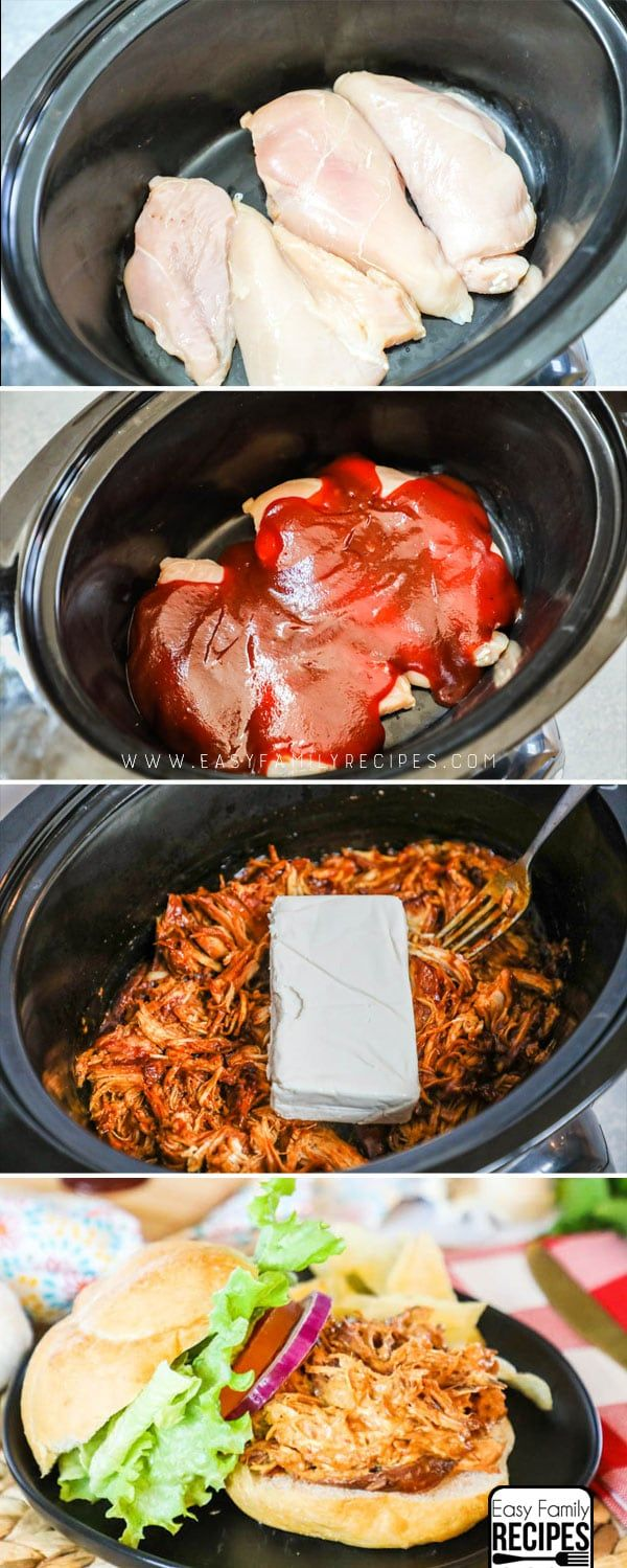 The absolute BEST BBQ Chicken in a crockpot- This is so much better than any I have ever had! #dinner #recipe #slowcooker #crockpot #chicken