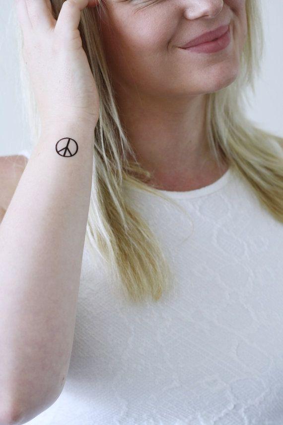 4 Small Peace Sign Temporary Tattoos Small Temporary Tattoo Etsy In 2020 Peace Sign Tattoos Small Tattoos Cute Small Tattoos