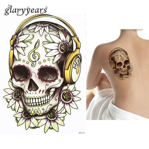 Flower Skull Headset Music Note Temporary Tattoo