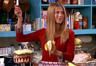 """Rachel: """"It's a trifle. It's got all of these layers. First there's a layer of ladyfingers, then a layer of jam, then custard, which I made from scratch"""", [Joey and Ross make impressed faces] """"then raspberries, more ladyfingers, then beef sauteed with peas and onions"""", [Joey and Ross look like something's wrong.] """"then a little more custard, and then bananas, and then I just put some whipped cream on top!""""    [Joey and Ross make confused faces.]    Ross: """"W-What was the one right before…"""