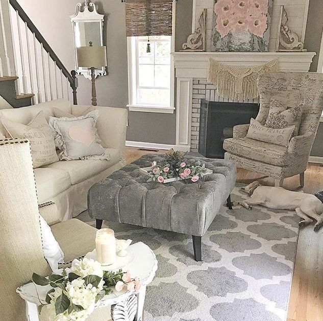 A vintage inspired, modern farmhouse living room with a beautiful, handmade, scented soy mason jar candle from Antique Candle Works.  Perfect with the Clean Cotton fragrance! PC: Pamela from Home on Fern Hill