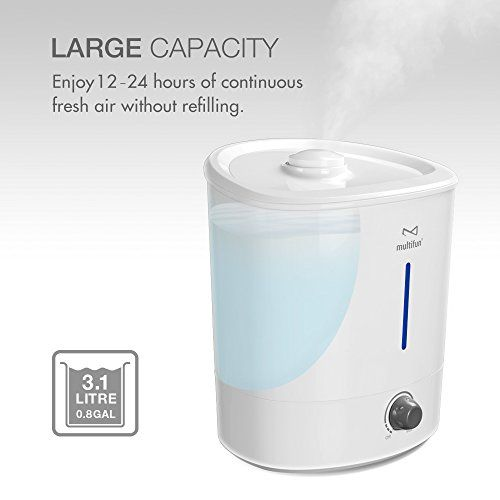 Ultrasonic Cool Mist Humidifier multifun 3.1L/0.8GAL Large Capacity Air Humidifier Topside Refill Water Whisper-quiet Cool Mist Humidifier Aroma Essential Oil Diffuser Anti-mold Easy to Clean