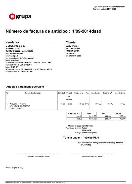 Faktura po hiszpańsku - afaktury.pl