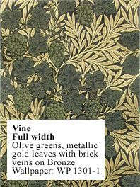 Vine by William Morris - Olive greens, metallic gold leaves with brick veins on Bronze Wallpaper