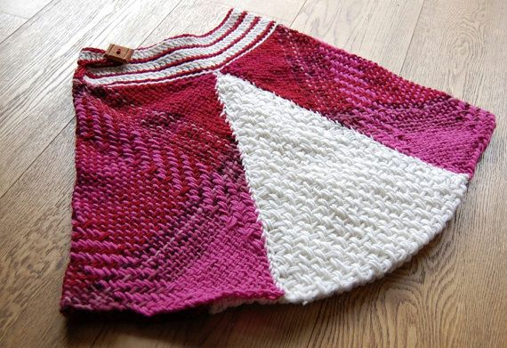 Woolen fuchsia and white skirt by Ullvuna on Etsy, $110.00
