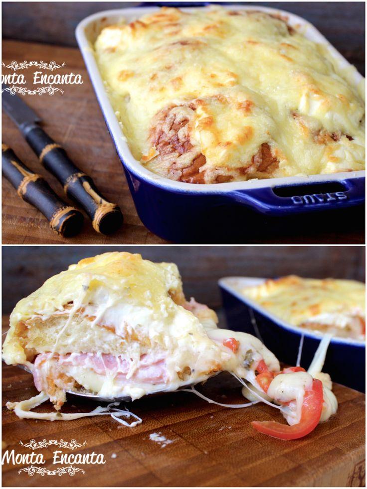 LASANHA DE PÃO ou bauruzão de forno. Montado com pão, queijo, presunto e tomate. Coberto com cream cheese e queijo parmesão....