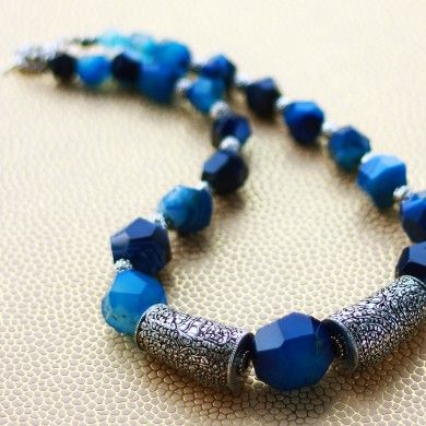 #BlueOnyx & #SilverNecklace - A blue Onyx necklace with #antique silver plated brass make a big statement.