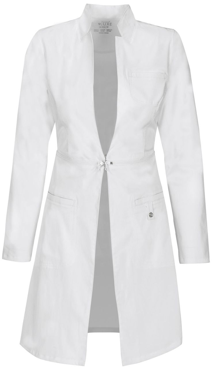 A Modern Classic fit, sleek, lab coat features a stand-up collar and zip-away detail at the waist which allows you to wear this as a cropped style when not at work. Also featured is a hook and eye fro