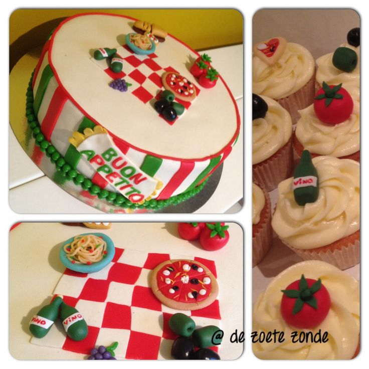 Italy Theme Cake And Cupcakes