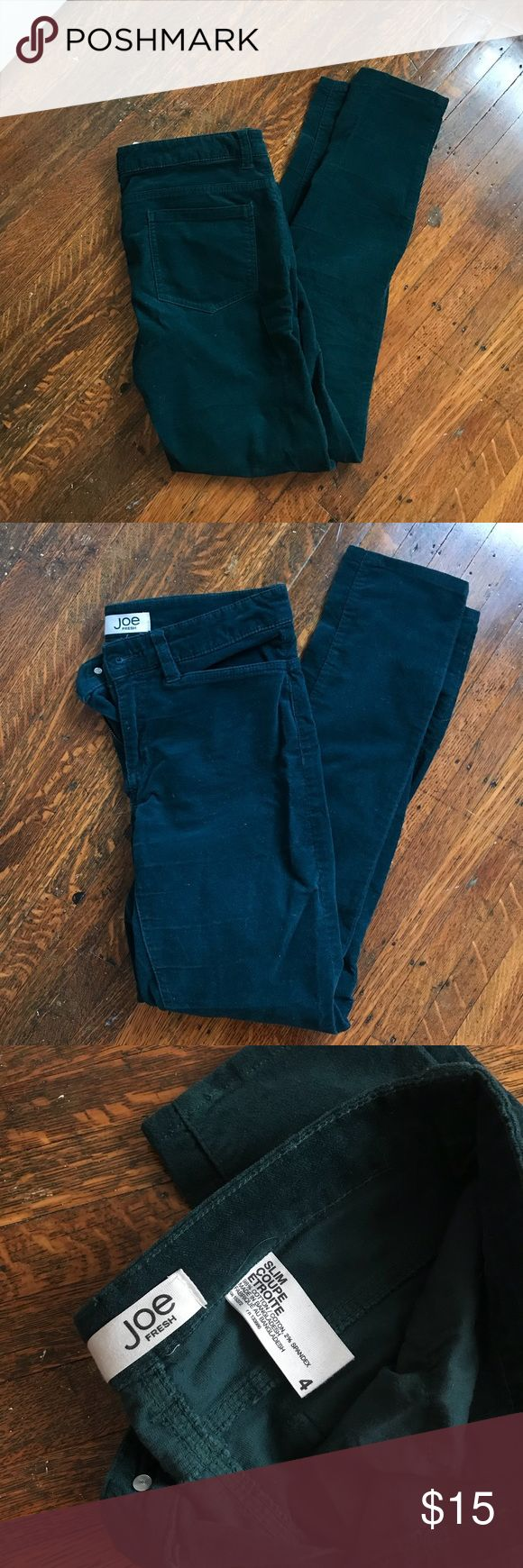 Joe Fresh Teal Corduroy Velvet Pants Skinny These Joe Fresh pants are super soft to the touch and very warm! Green teal color perfect for fall/winter 2017 fashion. Slim/skinny fit. Great quality! Joe Fresh Pants Skinny