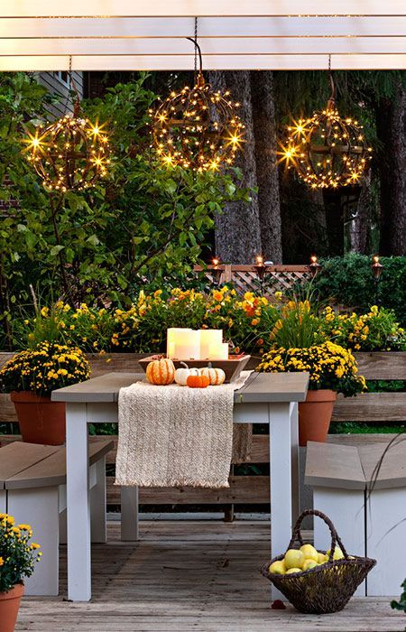 Surround a metal globe with bright LED holiday light strings for a hanging decoration to illuminate your porch, deck, or patio. --Lowe's Creative Ideas