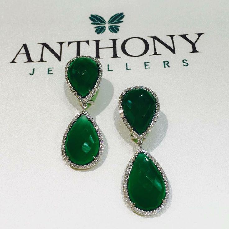 Green Agate & Diamond Drop Earrings