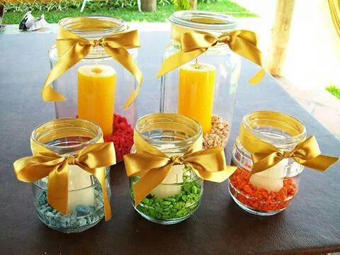 Frascos de vidrio decorados para navidad centros de mesa for Frascos decorados para navidad
